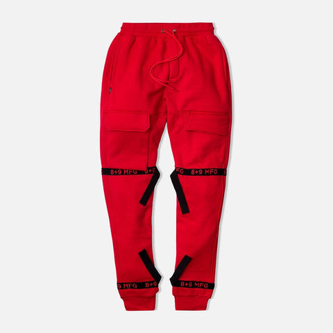 Strapped Up Fleece Sweatpants Red