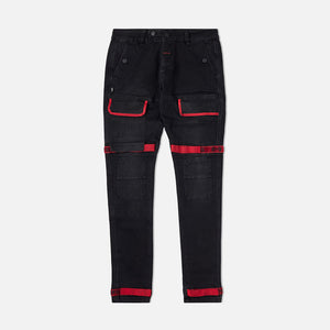 Strapped Up Slim Utility Black Jeans Red Straps