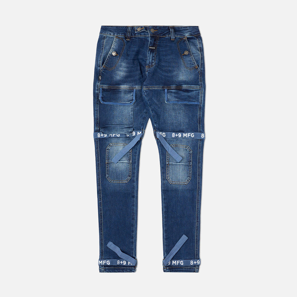 Strapped Up Slim Utility Dark Washed Jeans Navy Straps
