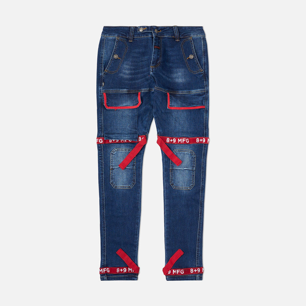 Strapped Up Slim Utility Dark Washed Jeans Red Straps