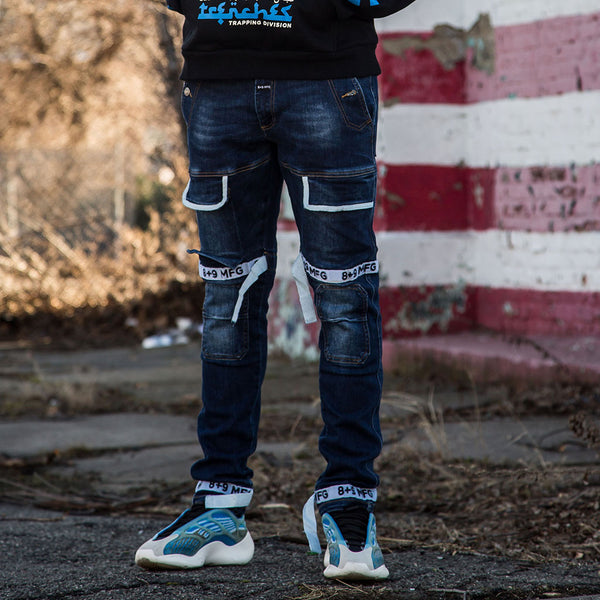 Strapped Up Slim Utility Dark Washed Jeans