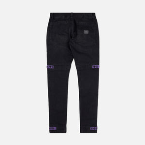 Strapped Up Slim Utility Jeans Black Purple Straps