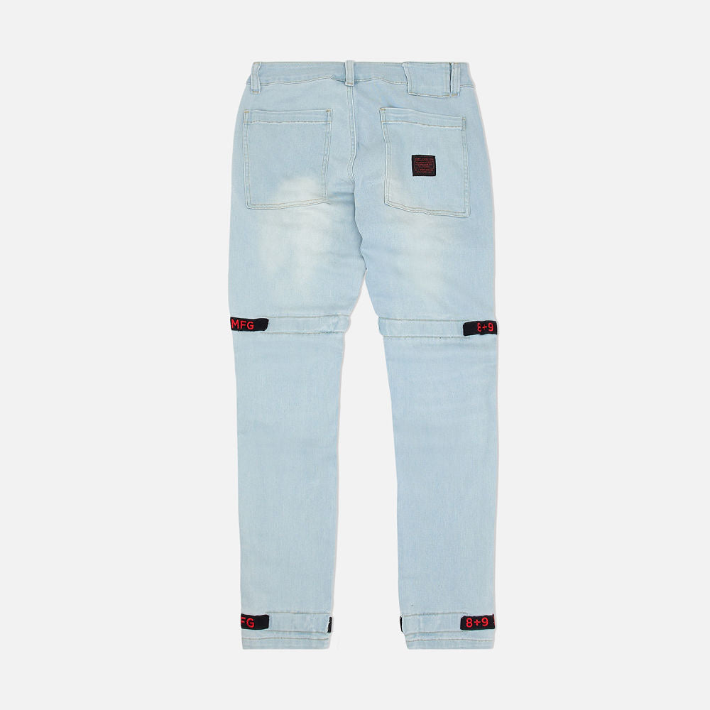 Strapped Up Slim Utility Light Washed Jeans Bred