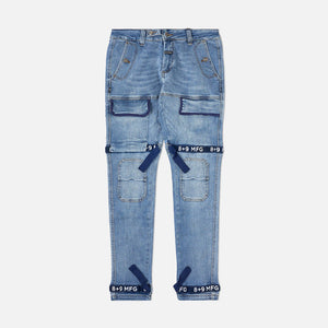 Strapped Up Slim Utility Medium Washed Jeans Navy