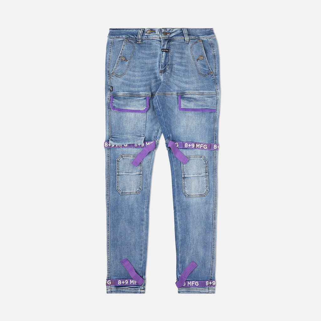 Strapped Up Slim Utility Medium Washed Jeans Purple
