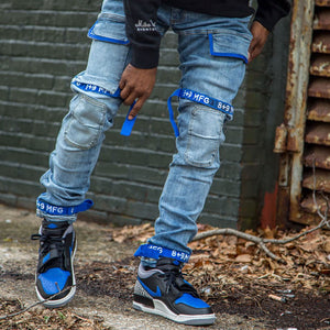 Strapped Up Slim Utility Medium Washed Jeans Royal