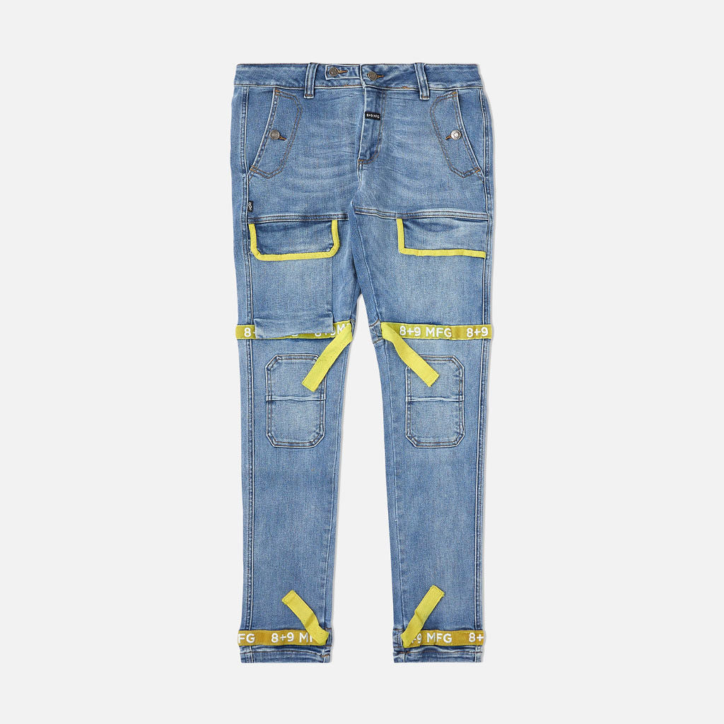 Strapped Up Slim Utility Medium Washed Jeans Yellow