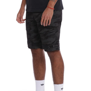 Strapped Up Slim Utility Shorts Black Camo