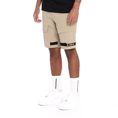 Strapped Up Slim Utility Shorts Sand Camo Khaki