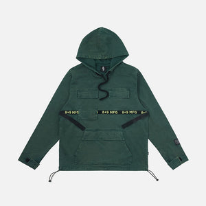Strapped Up Vintage Washed Utility Anorak Jacket Green