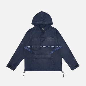 Strapped Up Vintage Washed Utility Anorak Jacket Navy