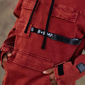 Strapped Up Vintage Washed Utility Anorak Jacket Rust