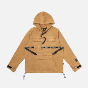 Strapped Up Vintage Washed Utility Anorak Jacket Tan