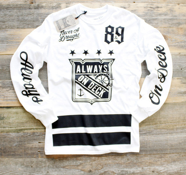 On Deck Jersey Tee White L/S - 1