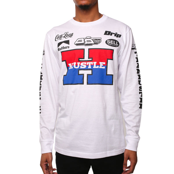 Team Hustle White Long Sleeve Racing Tee