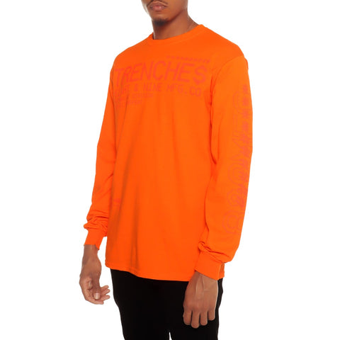 Tech Division Garment Dye Long Sleeve Tee Orange