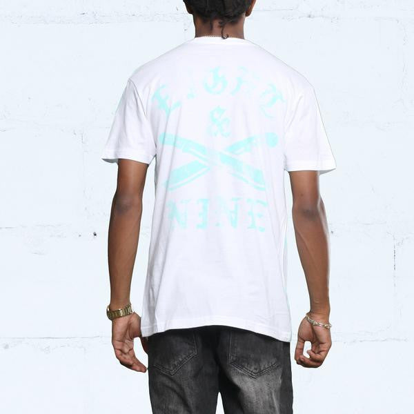 The River t shirt oxidized green back
