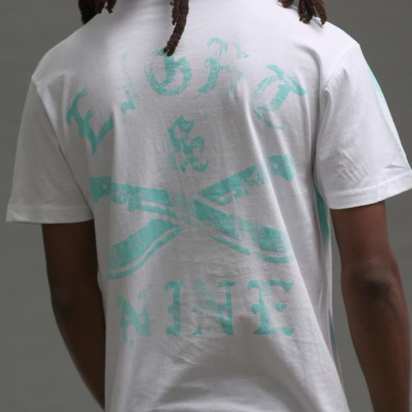 The River t shirt oxidized green close up back