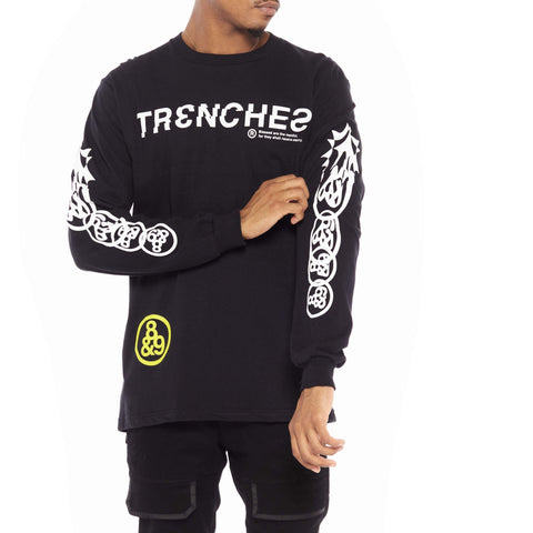 Trench Glitch Long Sleeve Tee Black