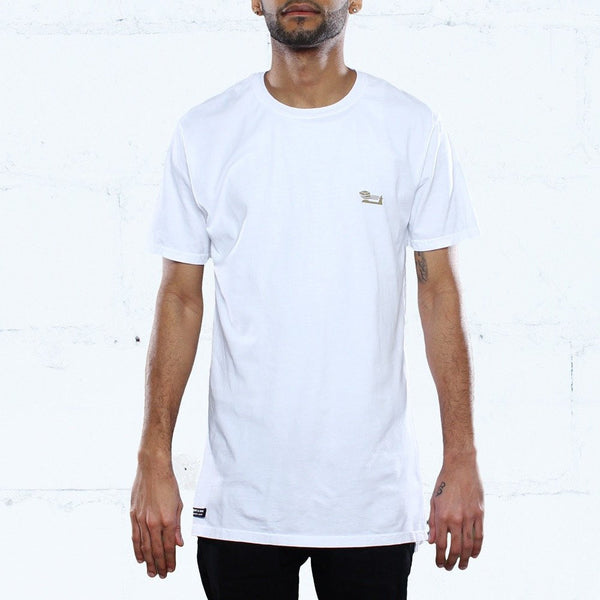 Triple Beam Long Line T-Shirt White