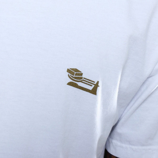 Triple Beam Long Line T-Shirt White Crest