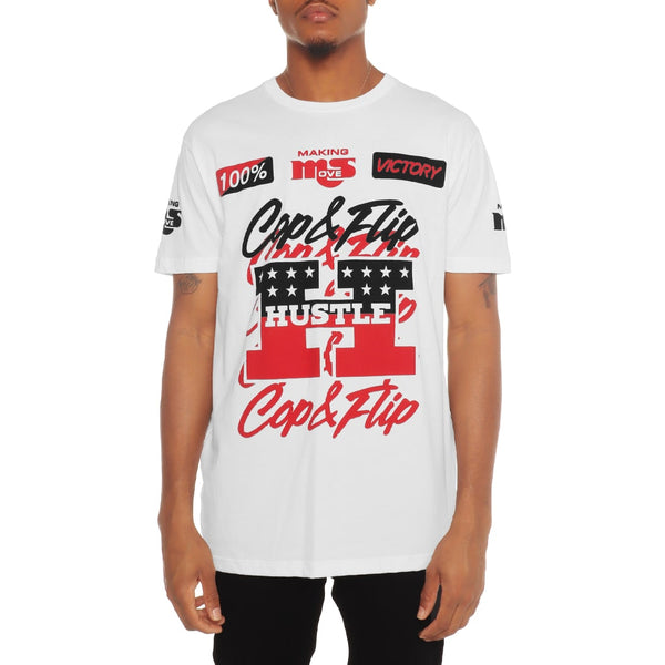 Victory Pit Crew T Shirt White Fire Red