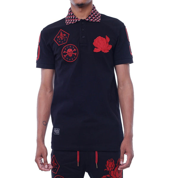 Wake Embroidered Polo Shirt Black