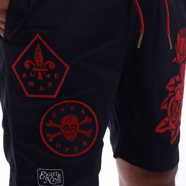Wake Embroidered Short Black