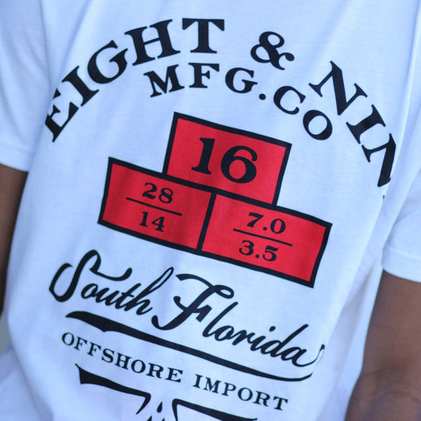 Weights import t shirt white Close up