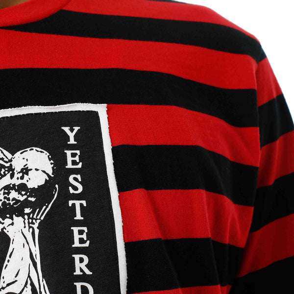 Yesterday Is Gone Striped T Shirt Red