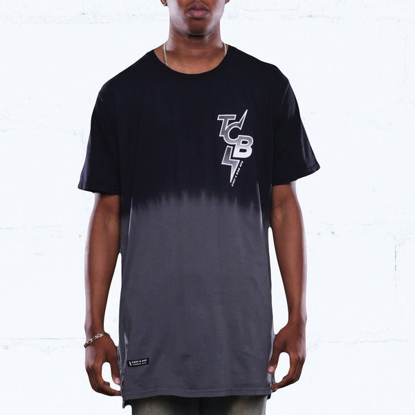 All City Dip Dye Long Line T Shirt Black
