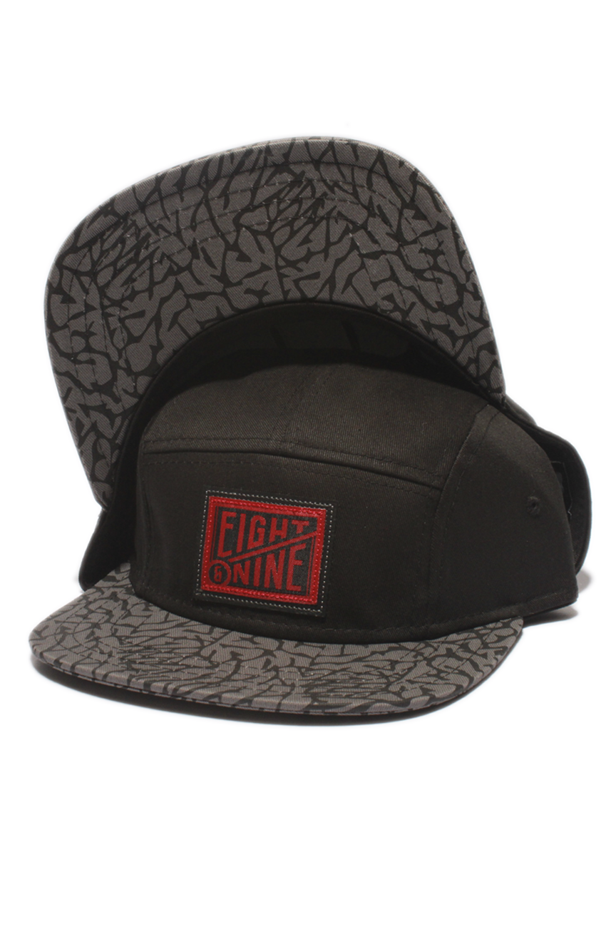 Black Cement 5-Panel Strap Back