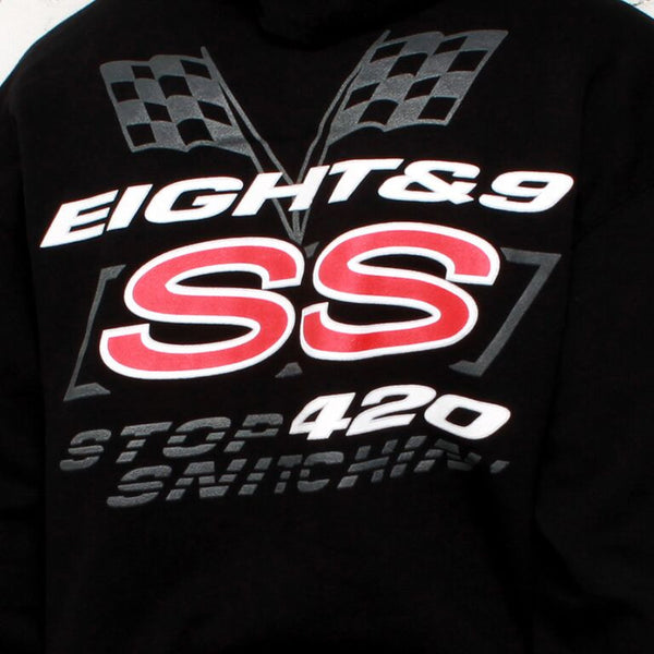 black stop snitchin hoodie back close up