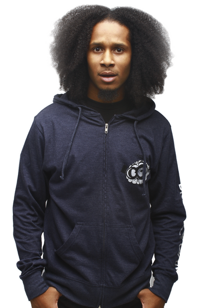 Brain Gang Ultra Light Navy Zip Up Sweatshirt