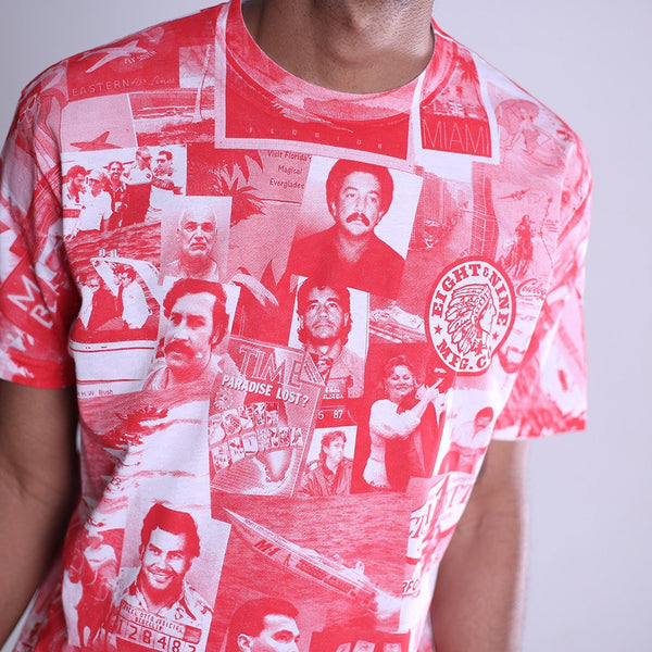 cartel all over print t shirt red close front