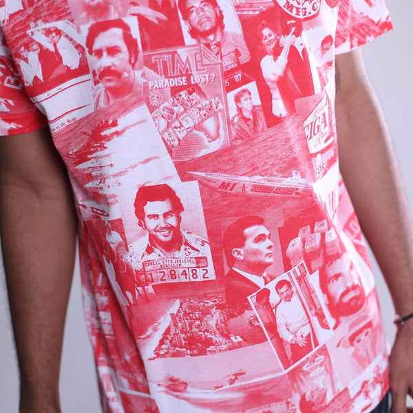 cartel all over print t shirt red close