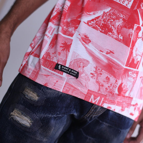 cartel all over print t shirt red label
