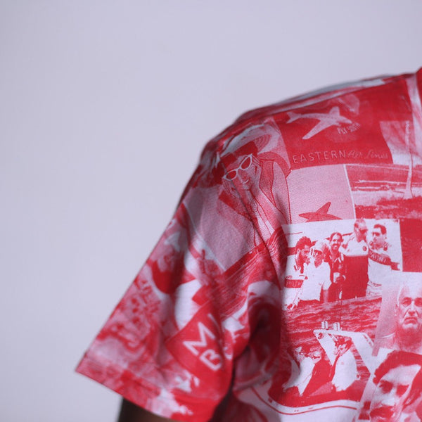 cartel all over print t shirt red sleeve
