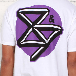 curved hem kennedy t shirt purple back close