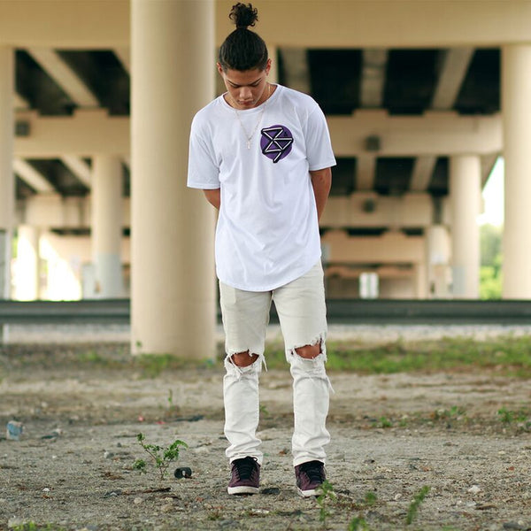 curved hem kennedy t shirt purple