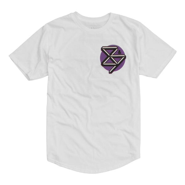 curved hem kennedy t shirt purple white