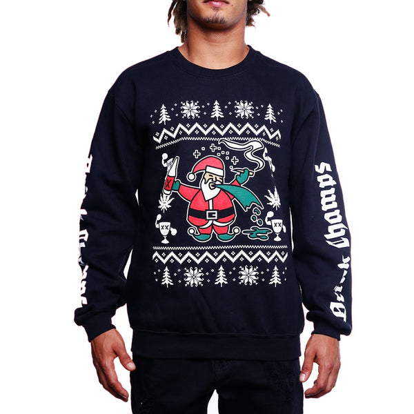 drink champs ugly christmas sweater front