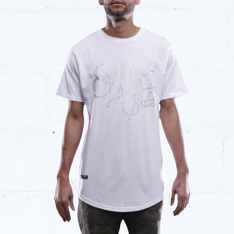 For Sale Silver Curved Hem T Shirt