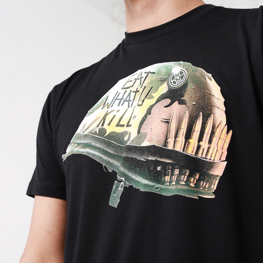 full metal eat what you kill t shirt front close