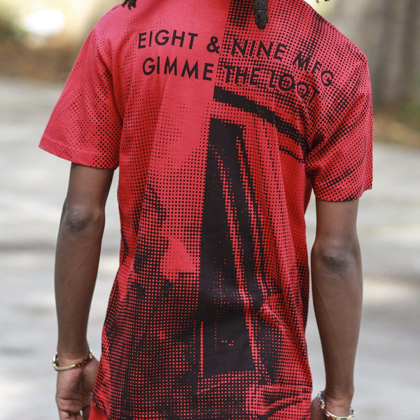 gimme the loot pixel t shirt red back close