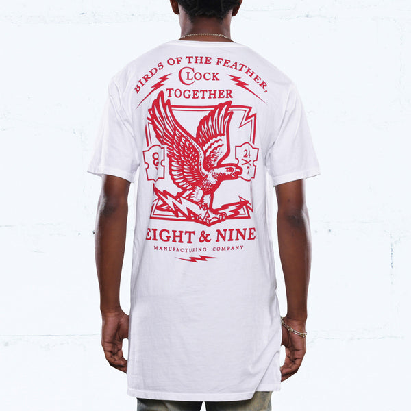 Clockin Elongated T Shirt White