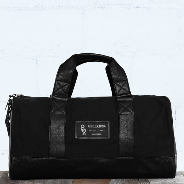 Triple Black Canvas Duffle Bag