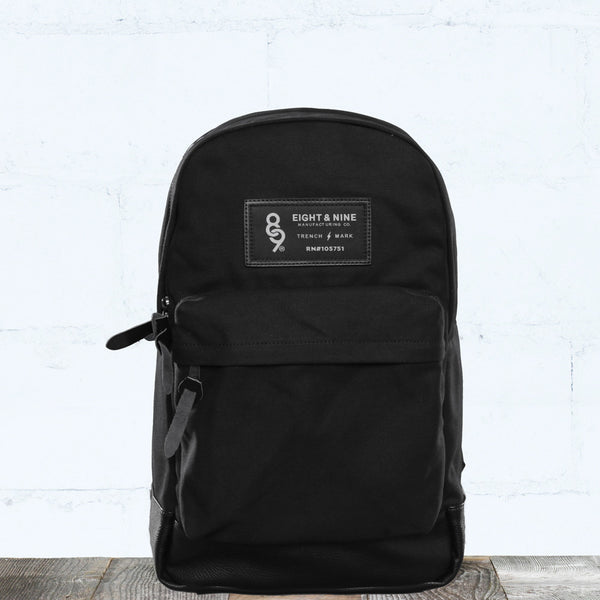 Triple Black Canvas Backpack