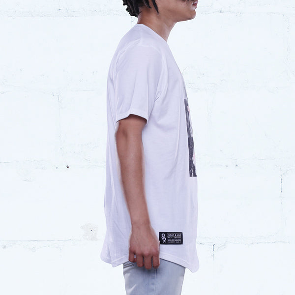 Coptic Savage Curved Hem Tee White
