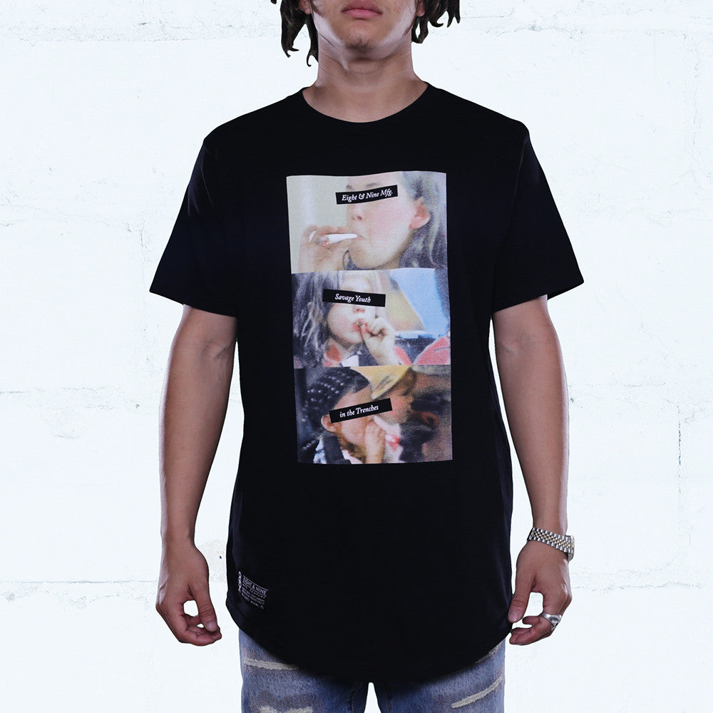 Coptic Savage Curved Hem Tee Black